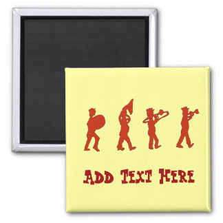 Marching Band, add text Square Magnet