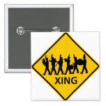 Marching Band Crossing Highway Sign 15 Cm Square Badge