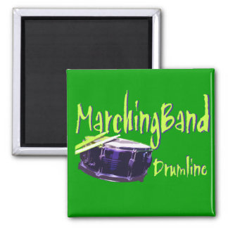 Marching Band Drumline Square Magnet