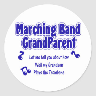 Marching Band Grandparent Trombone Round Stickers