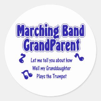 Marching Band Grandparent/ Trumpet Round Sticker