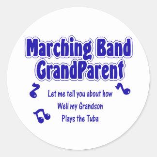 Marching Band Grandparent Tuba Round Sticker