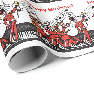 Marching Band Horns Piano and Music Note Birthday Wrapping Paper