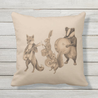 Marching band of animals outdoor cushion