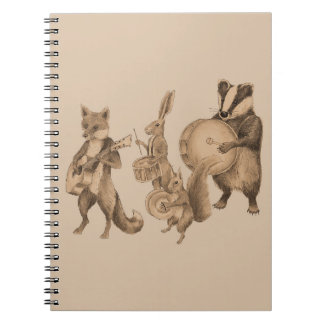 Marching band of animals spiral notebook