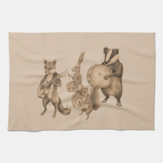 Marching band of animals tea towel