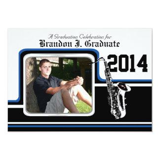 Marching Band Saxophone Graduation Photo Blue 13 Cm X 18 Cm Invitation Card