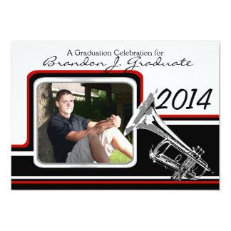 Marching Band Trumpet Graduation Photo Red 13 Cm X 18 Cm Invitation Card