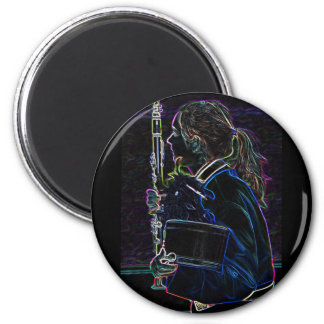 Marching Clarinetist Round Magnet