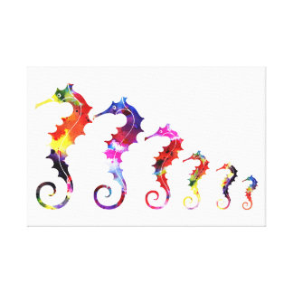 Marching Seahorses | vibrant & adorable Canvas Print