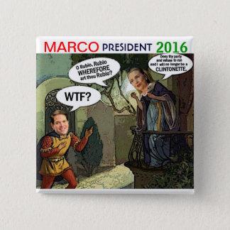 Marco Rubio for President 2016 15 Cm Square Badge