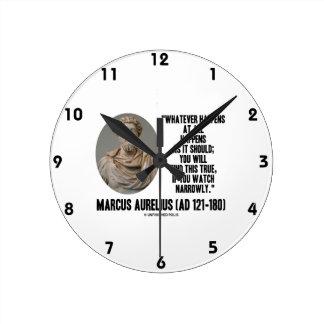 Marcus Aurelius Whatever Happens At All Happens Clock