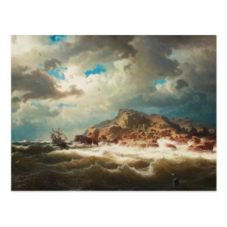 Marcus Larson - Ship by the Coast Postcard