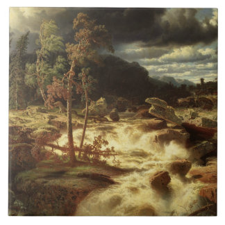 Marcus Larson - Waterfall in Smaland Ceramic Tile