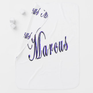Marcus, Name, Logo, Snugly White Baby Blanket. Baby Blanket
