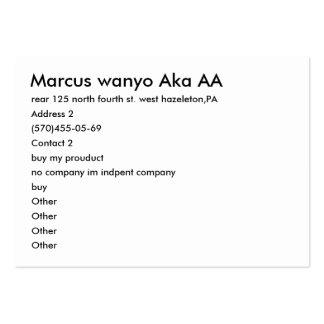 Marcus wanyo Aka AA, rear 125 north fourth st. ... Business Cards