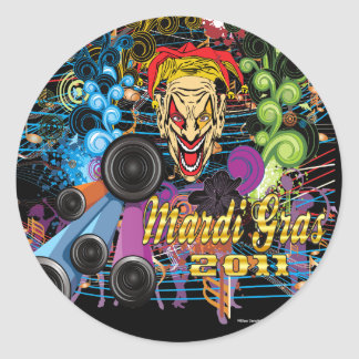 Mardi-Gras 2011 The Joker II Classic Round Sticker