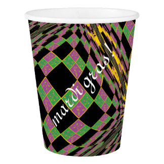 Mardi Gras 2017 Purple, Green and Gold Argyle Paper Cup