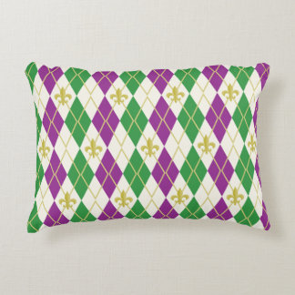 Mardi Gras Argyle Accent Pillow