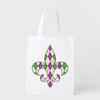 Mardi Gras Argyle Reusable Grocery Bag