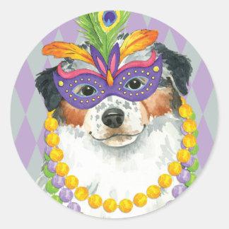 Mardi Gras Aussie Classic Round Sticker