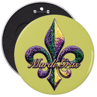Mardi Gras bead Fleur de lis 2 Pinback Buttons