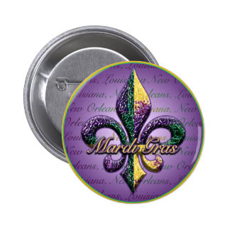 Mardi Gras bead Fleur de lis 2 Buttons