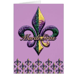 Mardi Gras bead Fleur de lis 2 Greeting Card
