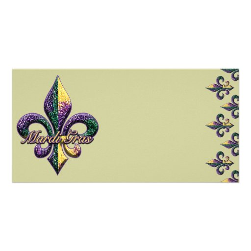 Mardi Gras bead Fleur de lis 2 Custom Photo Card