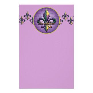 Mardi Gras bead Fleur de lis 2 Customised Stationery