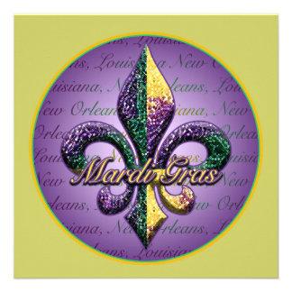 Mardi Gras bead Fleur de lis 2 Invitation