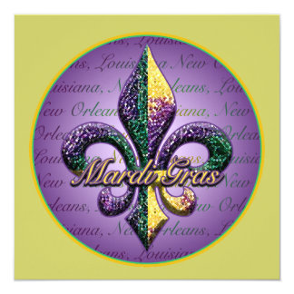 """Mardi Gras bead Fleur de lis 2 5.25"""" Square Invitation Card"""