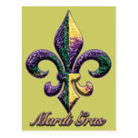 Mardi Gras bead Fleur de lis 2 Post Cards
