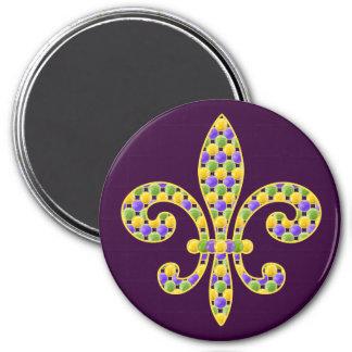 Mardi Gras bead Fleur de lis 7.5 Cm Round Magnet