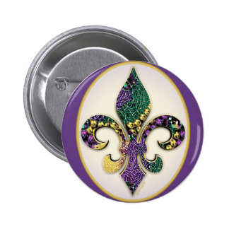 Mardi Gras Bead Fleur de lis Button
