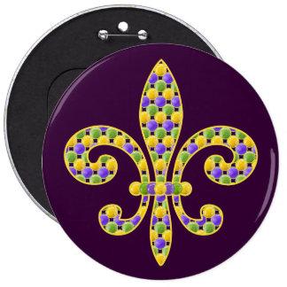 Mardi Gras bead Fleur de lis Pinback Buttons