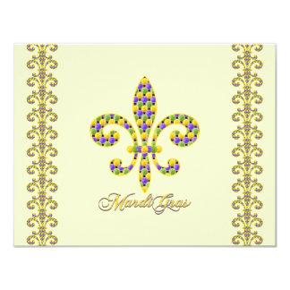 """Mardi Gras bead Fleur de lis 4.25"""" X 5.5"""" Invitation Card"""