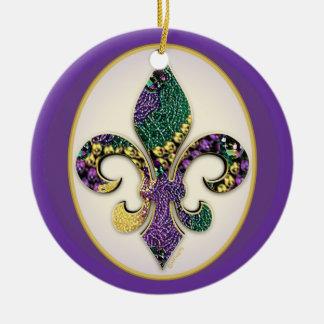 Mardi Gras Bead Fleur de lis Round Ceramic Decoration
