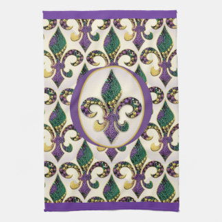 Mardi Gras Bead Fleur de lis Tea Towel
