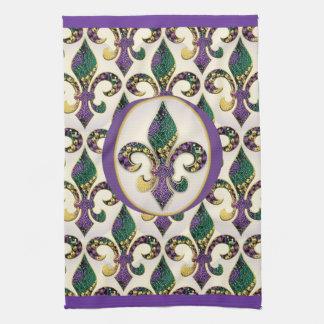 Mardi Gras Bead Fleur de lis Hand Towels