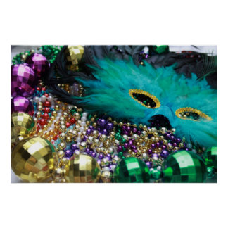 Mardi Gras Beads & Green Mask Poster Art Print