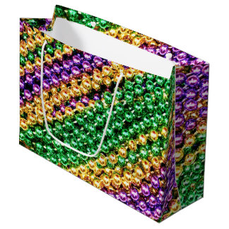 Mardi Gras Beads Large Gift Bag