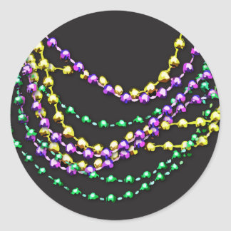 Mardi Gras Beads Necklaces Classic Round Sticker