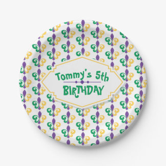 Mardi Gras Birthday Party Paper Plate