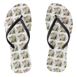 Mardi Gras Bulldog Flip Flops