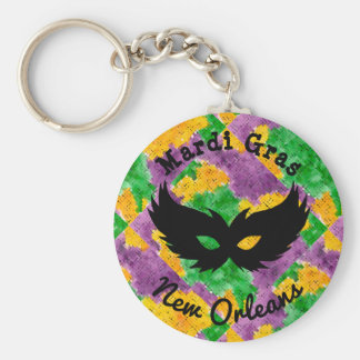 Mardi Gras Camouflage Mask Key Ring