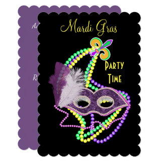 Mardi Gras Celebrations Fancy Mask Party Card