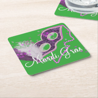 Mardi Gras Celebrations Fancy Mask Party Square Paper Coaster