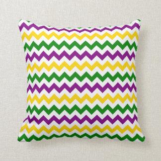 Mardi Gras Chevron Pattern Gold Cushion
