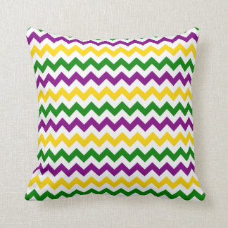 Mardi Gras Chevron Pattern Gold Throw Pillow